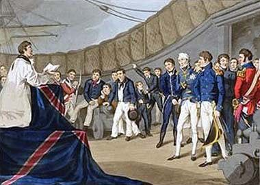 Service of thanksgiving held on HMS Vanguard after the Battle of the Nile on 1st August 1798 in the Napoleonic Wars: picture by William Heath: buy; this picture