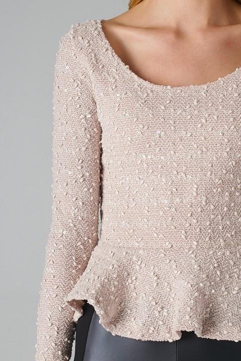 Sequined Peplum Sweater// Loove