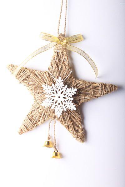 Jutové vánoční dekorace: hvězda a baňka