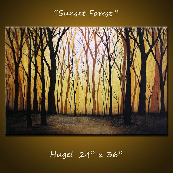 Sunset in the Forest Painting by Cristina Stefan  Saatchi Art
