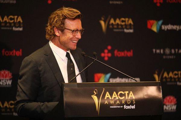 Simon Baker Photos Photos - Image was altered with digital filters.) Simon Baker is presented with the Trailblazer Award during the 7th AACTA Awards Presented by Foxtel at The Star on December 6, 2017 in Sydney, Australia. 7th AACTA Awards Presented by Foxtel | Backstage