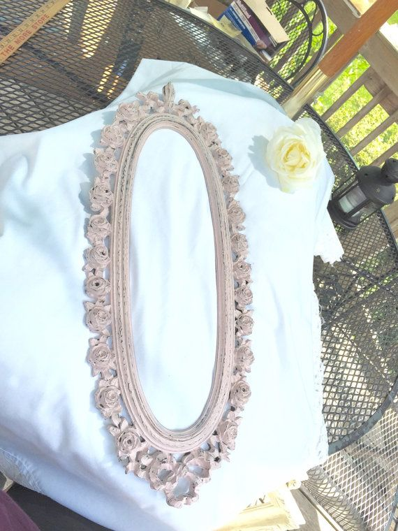 SHABBY CHIC FRAME French Pink roses Distressed Ornate Oval Picture Frame Plastic Up-cylced Calk Paint Antoinette Pink 25 inches tall by 10 inches wide Paint by Annie Sloan chalk paint The perfect piece to add VINTAGE STYLE to your lookor sensational shower gift just imagine! This