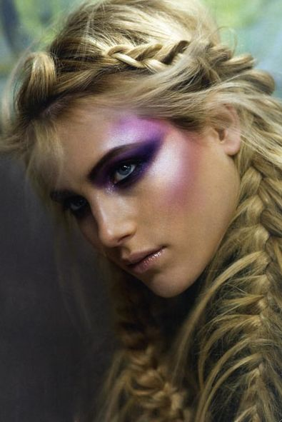 High Fashion Makeup Look Complete With Creative And Beautiful Fishtail Braids.