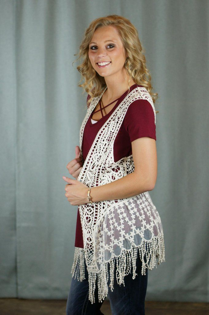 You will love this elegant crochet and lace mixed vest. You want a stand out fashion statement? This is the one. Small/Medium 4-6 Large/X-Large 8-12 2-XLarge 14-18 100% Cotton Wash in cold water.