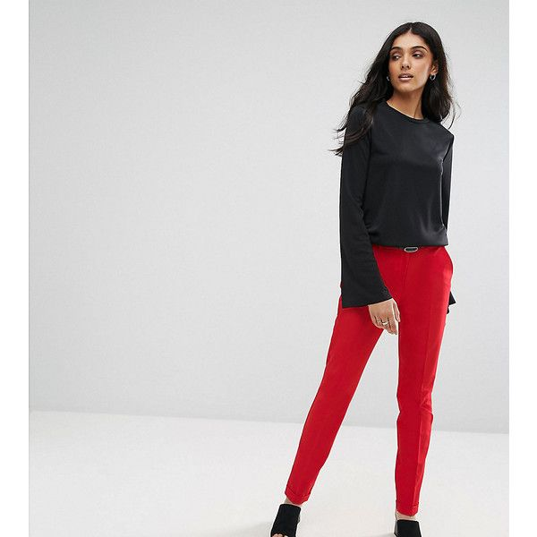 ASOS TALL The Slim Tailored Cigarette Trousers With Belt (£10) ❤ liked on Polyvore featuring pants, red, zip pants, zip pocket pants, zipper pants, stretch pants and tall pants
