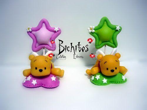 Souvenirs Nacimiento/ Bautismo Winnie Pooh En Porcelana Fría - $ 12,00