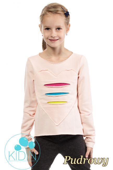 Dziewczęca dresowa bluza z sercem. #cudmoda #moda #ubrania #odzież #dziecięca #fashion