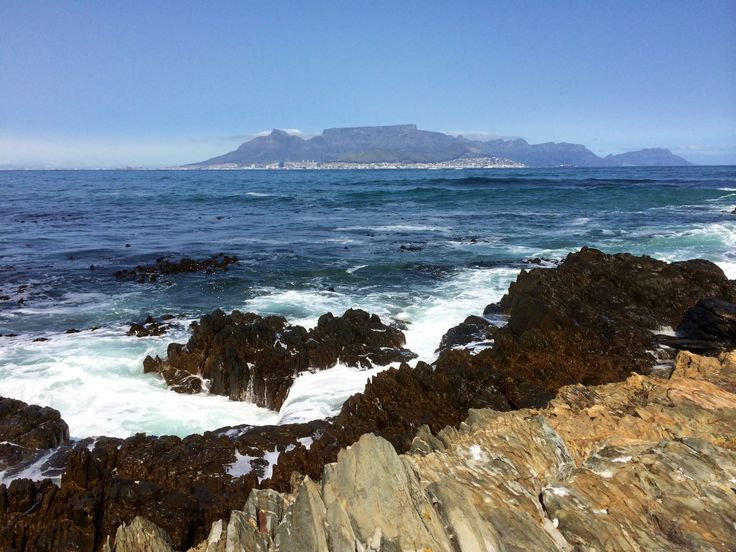 Table Mountain, seen from Robben Island, South Africa.