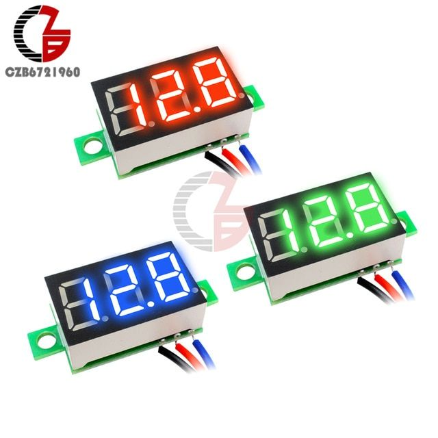 "0.28/"" 3 Wire LED DC 0-100V Voltmeter Digital Display Voltage VOLT METER 12V 24V"