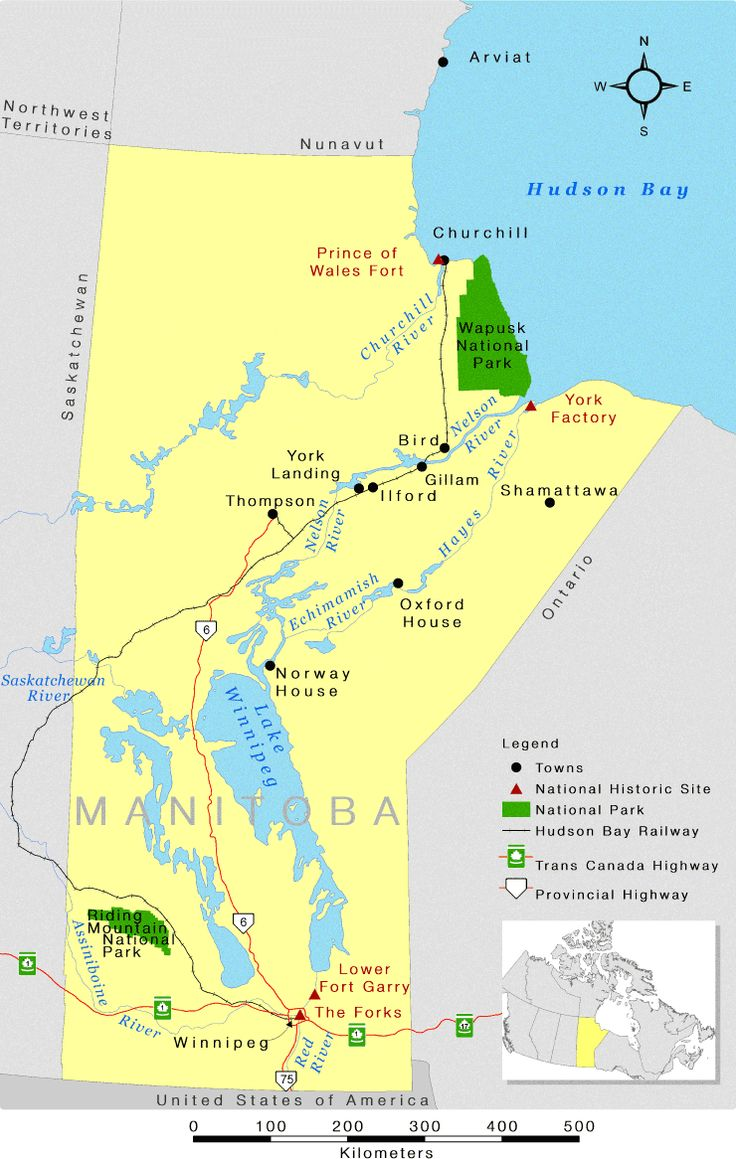 Pin canadian national railroad map on pinterest - Manitoba Provincial Map Showing Riding Mountain National Park And Wapusk National Park