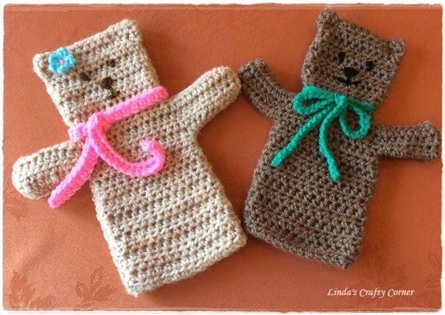 .Linda's Crafty Corner: Crochet Teddy Hand Puppet Pattern ༺✿ƬⱤღ https://www.pinterest.com/teretegui/✿༻