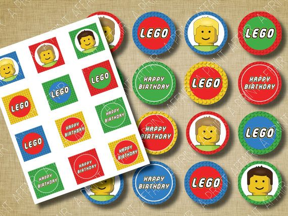 Building Blocks Cupcake Toppers Birthday Party Printable Decorations LEGO® inspired Red, Yellow, Green, and Blue (INSTAND DOWNLOAD)