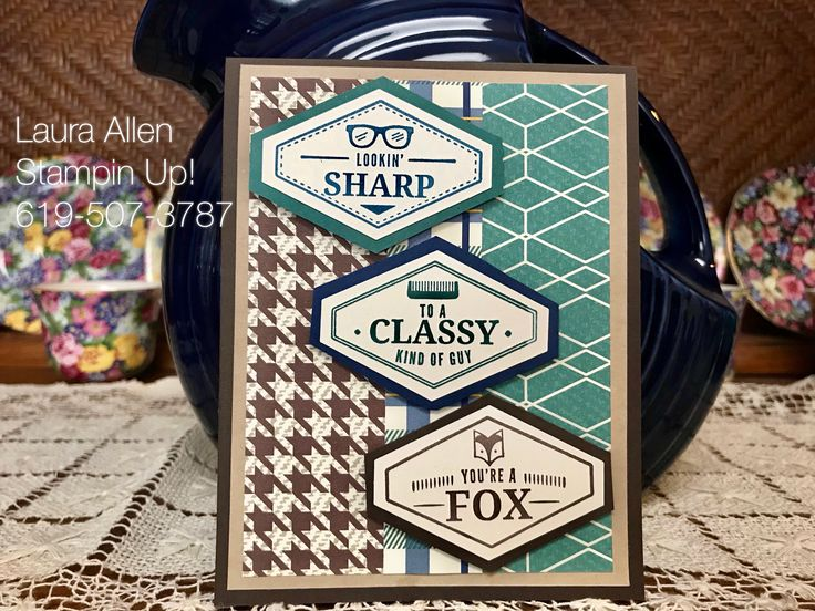 I finally made a few masculine cards! I love the new paper and stamps from Stampin Up! I used the True Gentleman paper with the Truly Tailored and the Guy Greetings stamp sets.