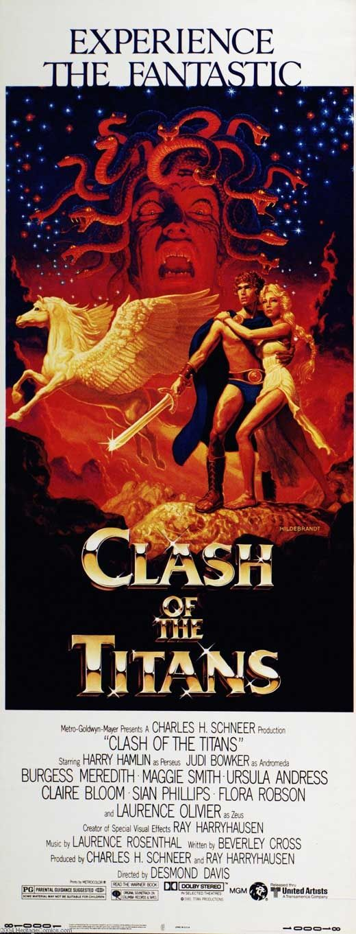 This is a movie poster for Clash of the Titans made in 1981. This movie follows the story of Perseus and the slaying of Medusa. This story told by Ovid in 8 AD has stuck around and is still being told today.