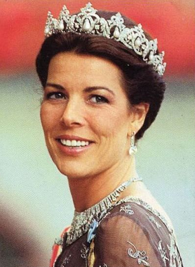 HRH Princess Caroline is seen here wearing the pearl and diamond tiara which was made by Cartier Paris for HSH Princess Charlotte of Monaco, Caroline's grandmother.