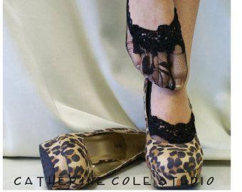 Lace sokken hakken gluren sokken bruiloft door ForeverLaceBoutique