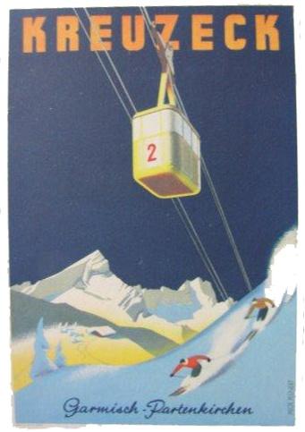 Kreuzeck ski vintage poster, Garmisch-Partenkirchen