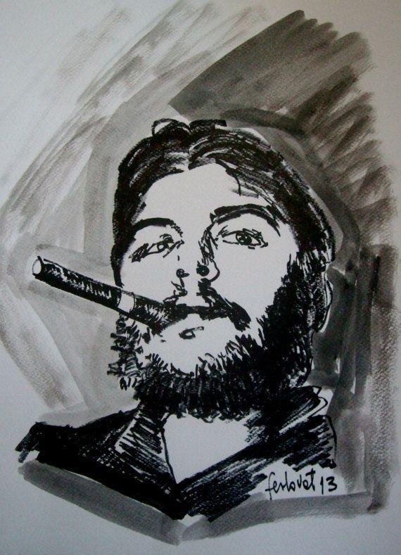 che guevara portrait acrylic art by NandoTelly on Etsy, €39.00