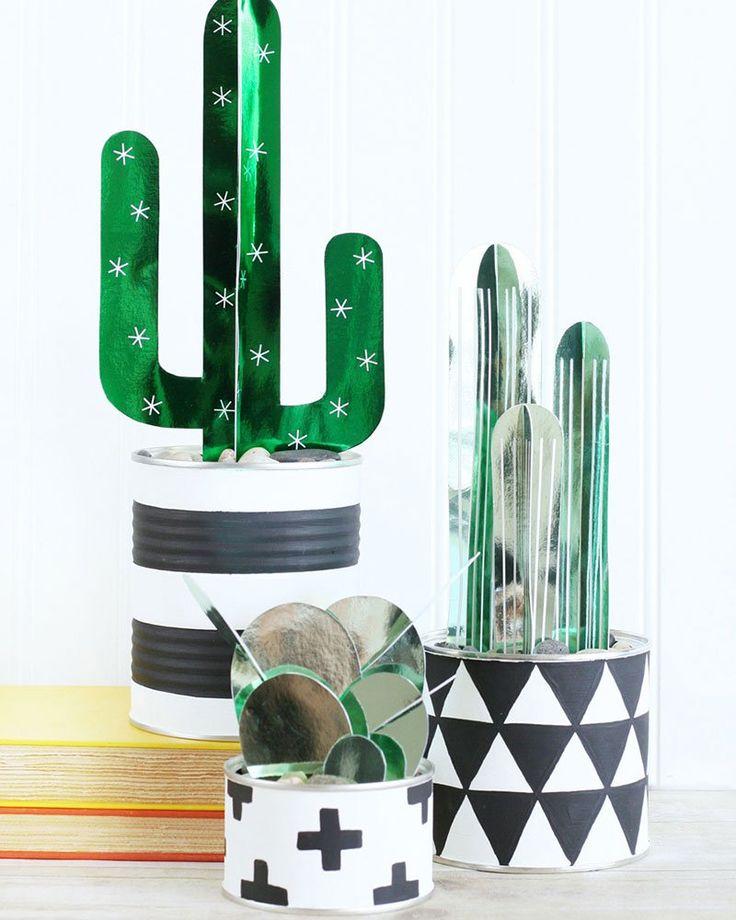 Diy récup utiliser des boites de conserves pour faire des pots aux motifs géométrique diy