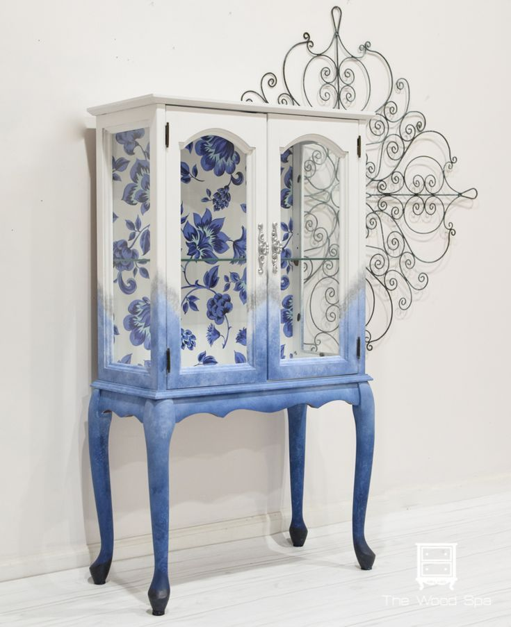 Small cabinet with blue floral back – The Wood Spa by Pat Rios