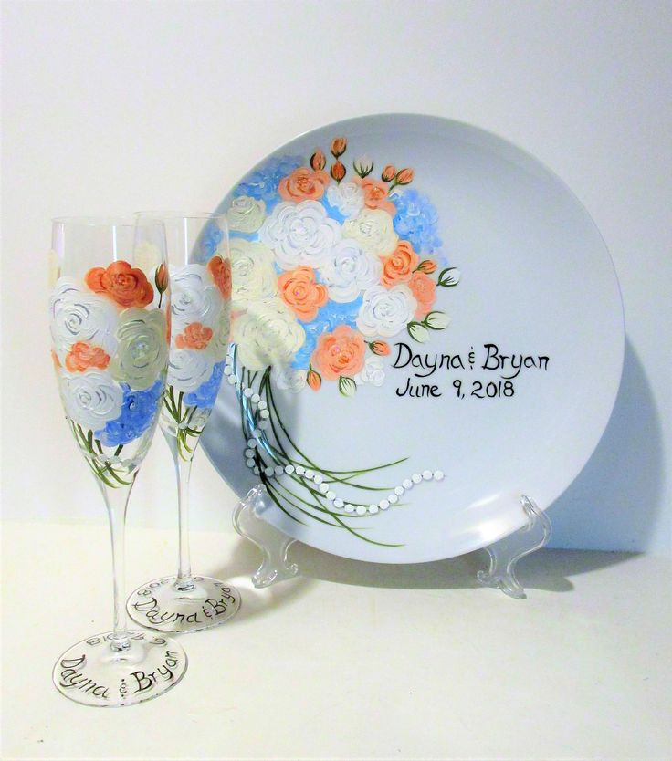 Roses & Pearls, Hydrangea Flowers Hand Painted Champagne Flutes and Plate Set 2 - 6 oz Toasting Flutes 1- 10 1/2 Plate with Stand Wedding by SharonsCustomArtwork on Etsy