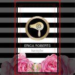 Hair Stylist Gold Hair Dryer Modern Stripes Floral Business Card.