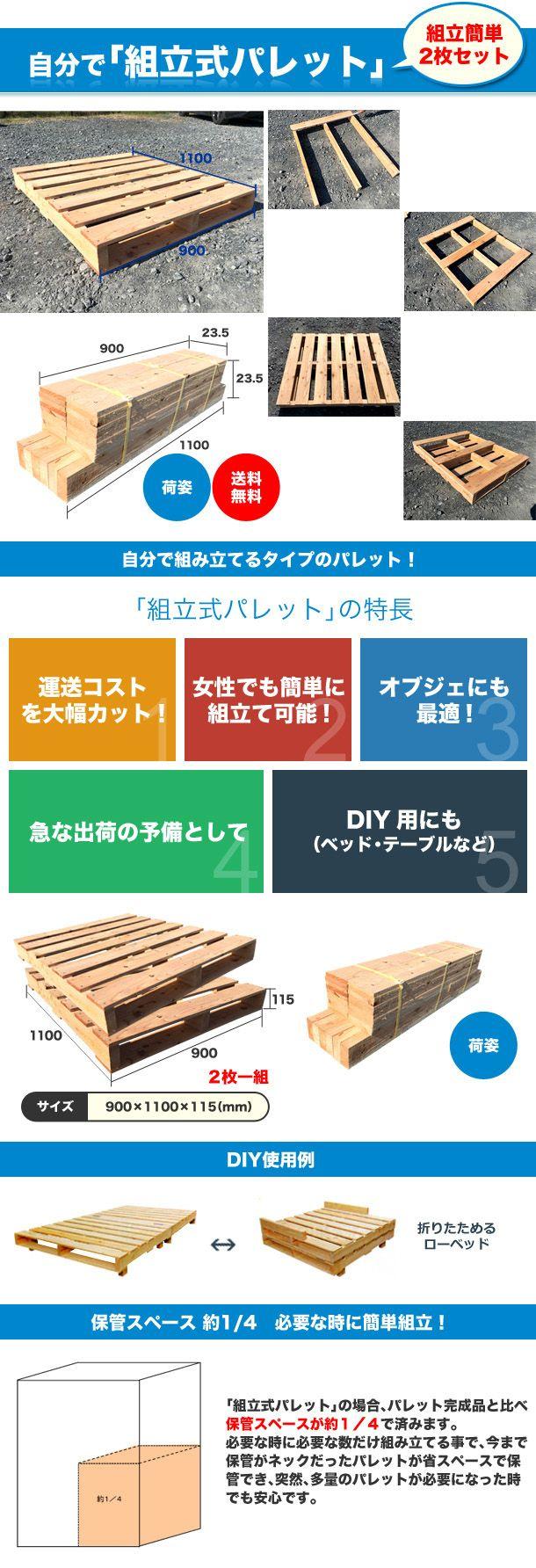 自分で「組立式パレット」松900×1100×115【2枚一組】 | 中古/新品・木製パレット、メッシュパレット、プラスチックパレット、販売