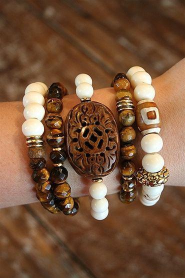 Liv-N-Grace Jewelry - Ivory + Tigers Eye 5 Strand Bracelet Set