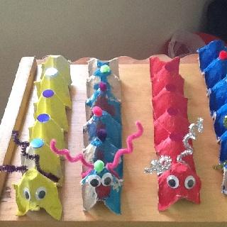 craft, kids, childeren, recycle, egg carton, caterpillaar, knutselen, kinderen, basisschool, eierdoos, rups