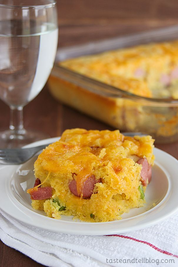 Taste and Tell has Corn Dog Casserole {Cookbook of the Month Recipe} at FoodBlogs.com