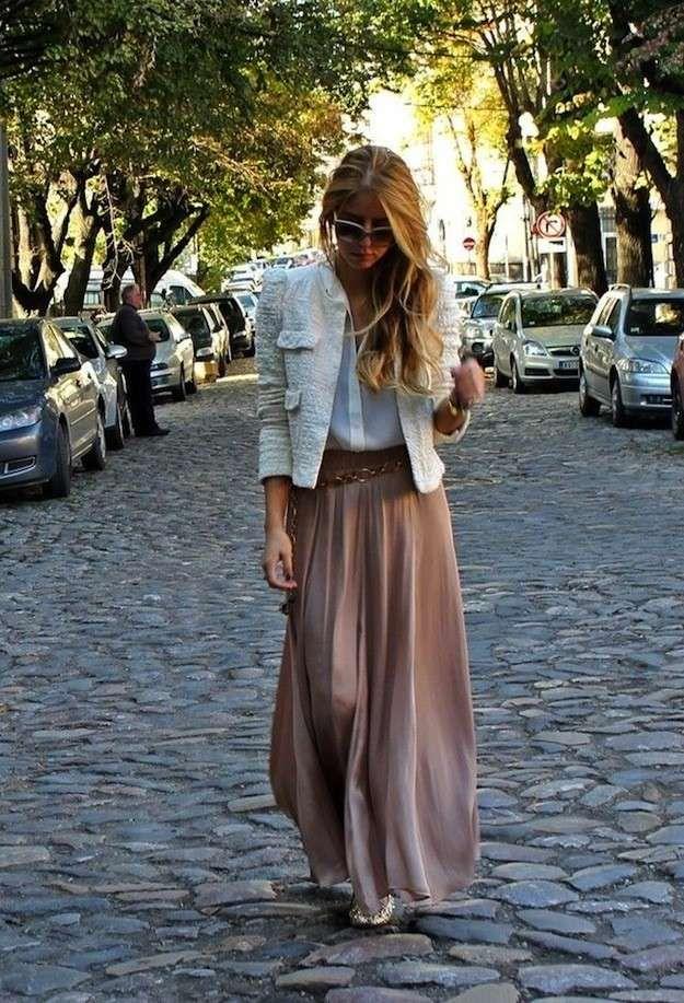 Cómo combinar las faldas largas en primavera: Fotos de los modelos - Falda larga…