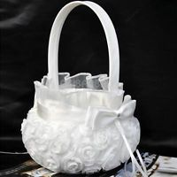 #gib Wedding Ceremony Party Love Case Satin Bowknot Rose Flower Girl Basket