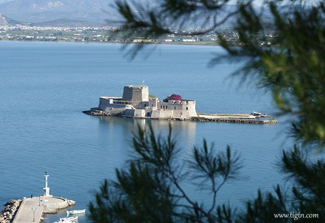 View of #Bourtzi from the terrace of Nafplia Palace Hotel, #Nafplio - #Greece