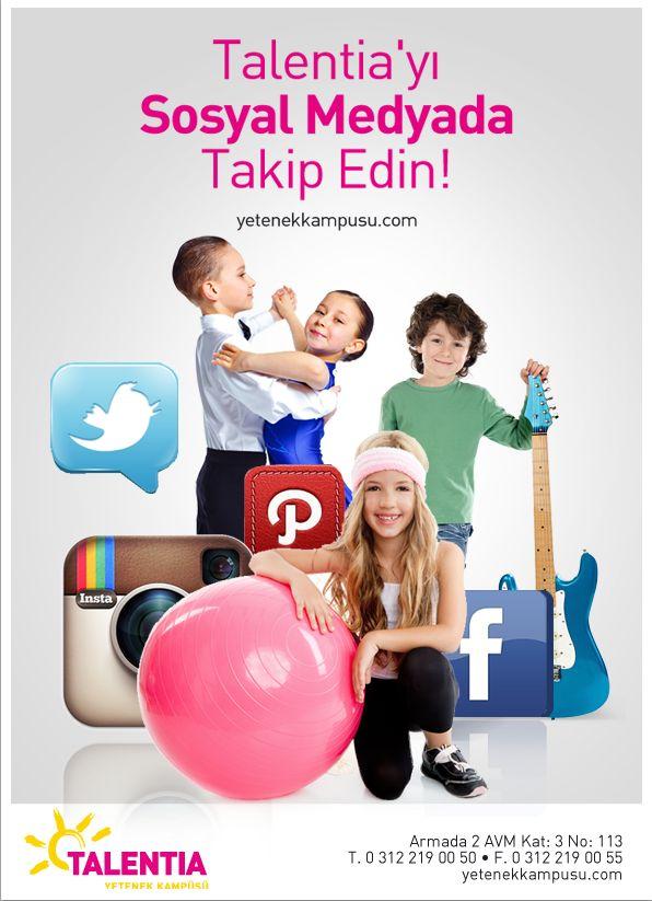 Talentia'yı takip edin! #Facebook #Twitter #Instagram #Pinterest #sosyalmedya #Talentia'da! #TalentiaYetenekKampüsü #Dans #Müzik #Sanat #Spor #yetenek #yeteneklerfora #yetenekkampusu #eğitim #kariyer #gelecek #talent #eğlence