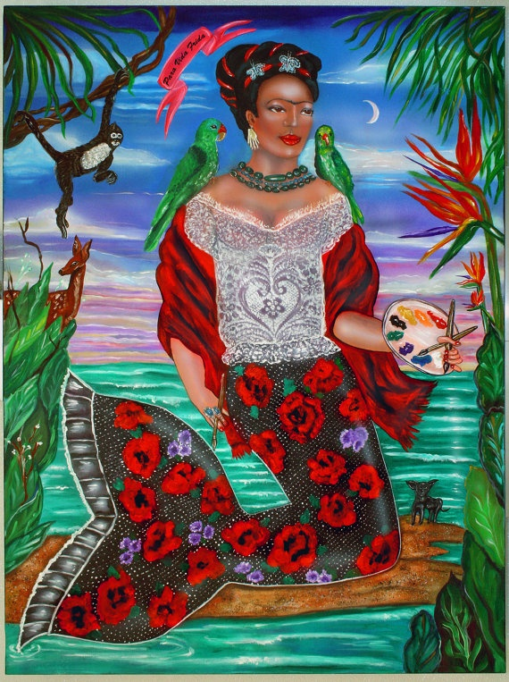 """""""Frida Kahlo as a Mermaid"""" painting by Ilene Satala"""
