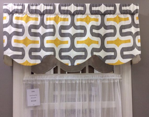 Contemporary Bold Gray And Yellow Scalloped By CurtainsBlindsBath 4399 ValancesValance Window TreatmentsKitchen