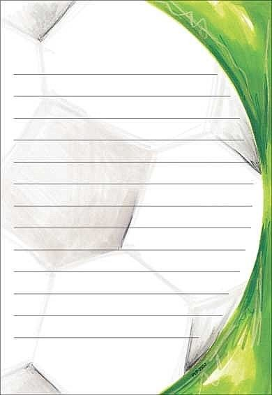Lined Soccer Stationery for camp http://gottagreatgift.com/shop/camp/stationery-and-postcards/stationery-and-pads-from-camp/boys-camp-stationery/soccer-ball-lined-stationery.html