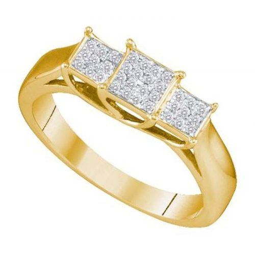 Women's White Diamond 0.12CTW 10K Yellow Gold Engagement Ring GND64945-W9 | Sparkly Things Jewelry