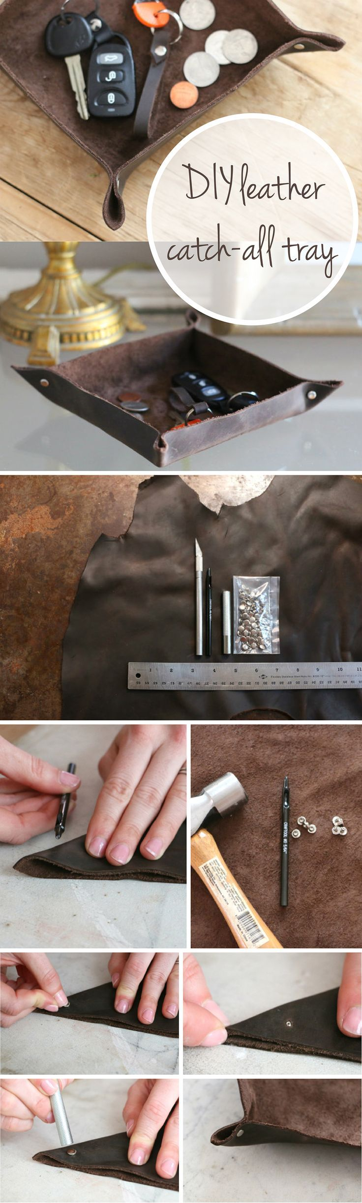 A great handmade gift for dad or a new homeowner! DIY leather catch-all tray for the entry way or bedside table. So clever and easy to make: www.ehow.com/...
