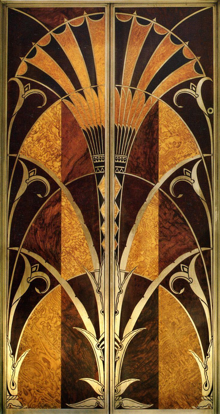 Art Deco elevator door of Chrysler Building New York City. Construction completed in 1930.