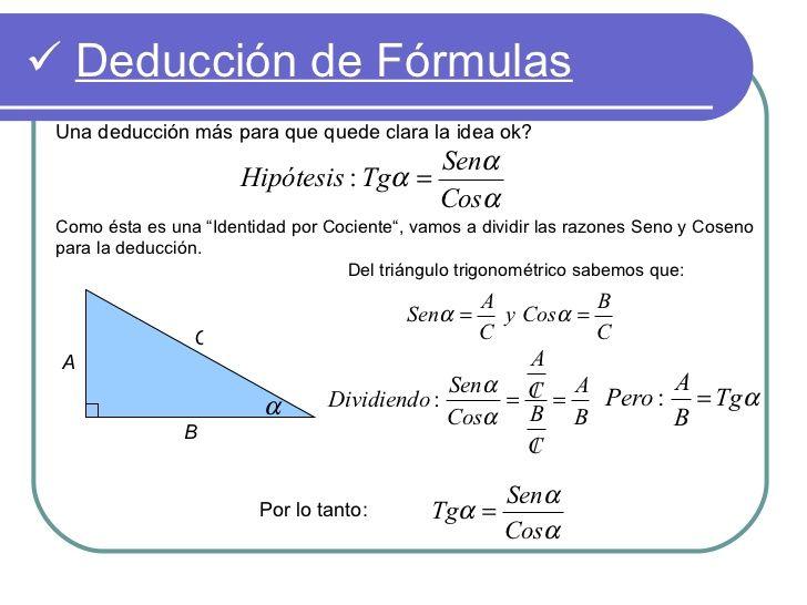 Deducción De Fórmulas Una Deducción Más Para Que Quede Clara La Idea Ok Senα Identidades Trigonometricas Hipotesis Identidad