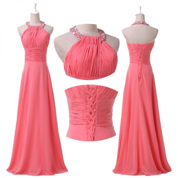 """Watermellon"" Halter Prom Evening Cocktail Party Bridesmaid  Long Formal Dress"