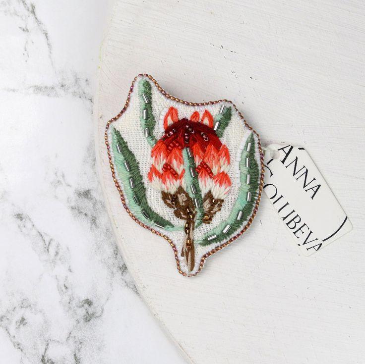 "90 отметок «Нравится», 3 комментариев — Beaded Jewelry Embroidery Art (@golubevaembroideryart) в Instagram: «New embroidered brooch ""Protea"". 🌺 I will make more flowers in the future. Sold. 💋#handmade…»"