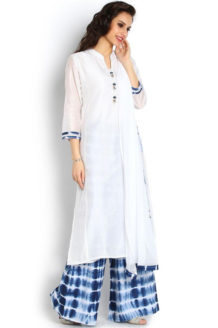 Soch White and Indigo Salwar Suit - SAMY CD 21006 - Amaya Salwar - Salwar-Kameez