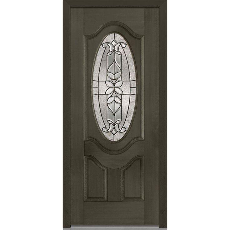 MMI Door 37.5 In. X 81.75 In. Cadence Decorative Glass 3/4 Oval Mahogany  Finished Fiberglass Exterior Door
