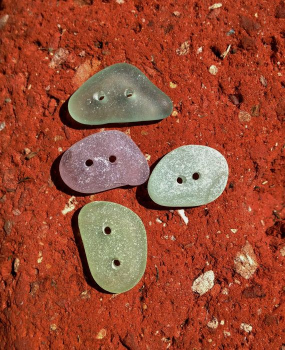 Sea Glass Buttons Genuine Beach Glass Buttons Supplies Natural Upcycle Beach Arts Crafts