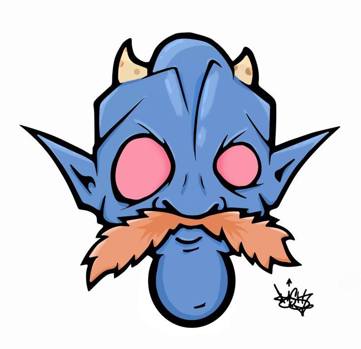 Old man blue.  Cartoon head series