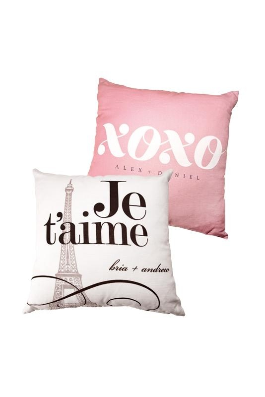 Good gifts for the bridal party: Checkerboard Ltd. Je t'aime and XOXO pillows, personalized with your wedding info