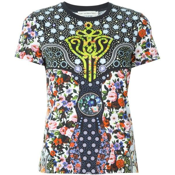 Mary Katrantzou 'Cosmo' T-shirt ($480) ❤ liked on Polyvore featuring tops, t-shirts, multicolour, print tops, pattern t shirt, short sleeve tee, multi color tops and short sleeve crew neck tee