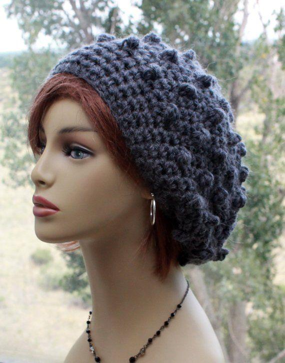 c482bcea3d3 Wool Hat - crochet chunky hat - Alpaca Wool hat - slouchy beanie - womens  hat - knit bobble tam - winter hat - chunky soft warm